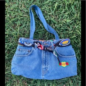 Denim purse with biker decals